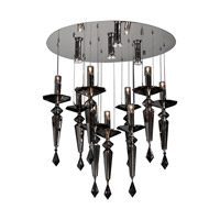 PLC Lighting Lamore Chandelier in Polished Chrome with Smoked Crsytal Glass 23666-PC