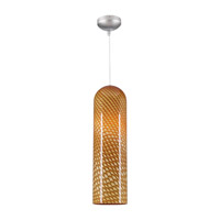 PLC Lighting Sphinx 1 Light Mini Pendant in Satin Nickel and Amber Glass 275-AMBER