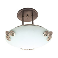 PLC Lighting Aroma Semi-Flush in Polished Brass with Acid Frost Glass 2818-PB