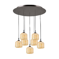 PLC Lighting Cuttle Pendant in Oil Rubbed Bronze with Nartural Onyx Glass 2827-ORB