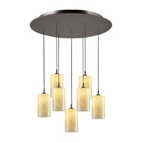 PLC Lighting Cylindro Pendant in Oil Rubbed Bronze with Nartural Onyx Glass 2887-ORB