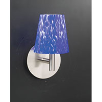 PLC Lighting Ninja Sconce in Satin Nickel with Blue Glass 302-BLUE photo thumbnail