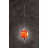 PLC Lighting Stratus Mini Pendant in Satin Nickel with Red Glass 305-RED