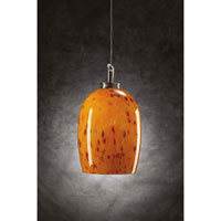 PLC Lighting Pina 1 Light Mini Pendant in Satin Nickel and Amber Glass 314-AMBER