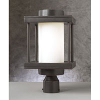 PLC Lighting Catalina Outdoor Post Mount in Oil Rubbed Bronze with Matte Opal Glass 31875/CFL-ORB