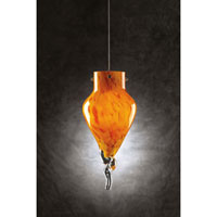PLC Lighting Icicle 1 Light Mini Pendant in Satin Nickel and Amber Glass 326-AMBER