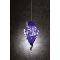 PLC Lighting Icicle 1 Light Mini Pendant in Satin Nickel and Blue Glass 326-BLUE