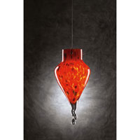 PLC Lighting Icicle 1 Light Mini Pendant in Satin Nickel and Red Glass 326-RED