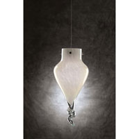 PLC Lighting Icicle 1 Light Mini Pendant in Satin Nickel and White Glass 326-WHITE