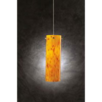 PLC Lighting Silo 1 Light Mini Pendant in Satin Nickel and Amber Glass 337-AMBER