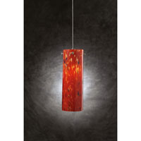 PLC Lighting Silo 1 Light Mini Pendant in Satin Nickel and Red Glass 337-RED photo thumbnail