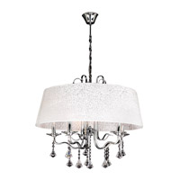 PLC Lighting Lily Chandelier in Polished Chrome with White Textured Shade Glass 34128-PC