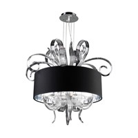 PLC Lighting Valeriano Chandelier in Polished Chrome with Black Fabric Shade & Clear Glass Glass 34143-PC