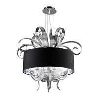 PLC Lighting Valeriano Chandelier in Polished Chrome with Black Fabric Shade & Clear Glass Glass 34147-PC
