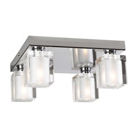PLC Lighting Glacier Flush Mount in Polished Chrome with Frost Glass 3486-PC