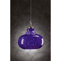 PLC Lighting Genie 1 Light Mini Pendant in Satin Nickel and Blue Glass 349-BLUE