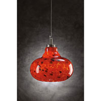PLC Lighting Genie 1 Light Mini Pendant in Satin Nickel and Red Glass 349-RED
