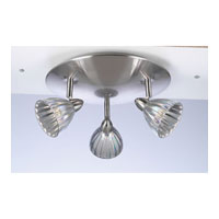 PLC Lighting Escudo Flush Mount in Satin Nickel with Iridescent Silver Glass 3553-SN