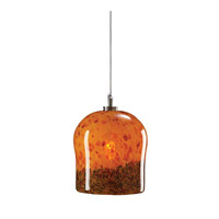 PLC Lighting Fuzio 1 Light Mini Pendant in Satin Nickel and Confetti Amber Glass 365-AMBER