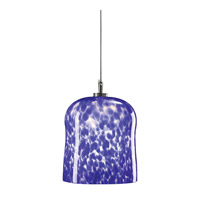 PLC Lighting Fuzio 1 Light Mini Pendant in Satin Nickel and Blue Glass 365-BLUE