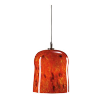 PLC Lighting Fuzio 1 Light Mini Pendant in Satin Nickel and Red Glass 365-RED
