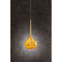 PLC Lighting Pompeii Mini Pendant in Satin Nickel with Amber Glass 396-AMBER