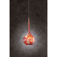 PLC Lighting Pompeii Mini Pendant in Satin Nickel with Red Glass 396-RED