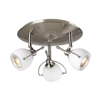 PLC Lighting Focus Flush Mount in Satin Nickel with Matte Opal Glass 5358-SN