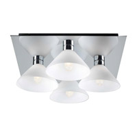 PLC Lighting Matrix Flush Mount in Polished Chrome with Matte Opal Glass 546-PC