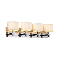 PLC Lighting Concerto Vanity in Polished Chrome with White Linen Shade Glass 584-PC
