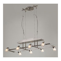 PLC Lighting Genesta Chandelier in Satin Nickel with Frost Glass 6026-SN