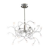 PLC Lighting Fusion Chandelier in Satin Nickel with Matte Opal Glass 6030-SN