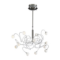 PLC Lighting Fusion Chandelier in Satin Nickel with Matte Opal Glass 6035-SN