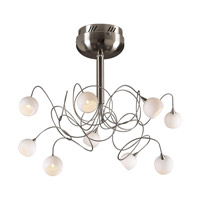 PLC Lighting Fusion Flush Mount in Satin Nickel with Matte Opal Glass 6039-SN