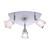 PLC Lighting Avatar Flush Mount in Satin Nickel with Frost Glass 6071-SN