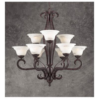 PLC Lighting Mayfair 9 Light Chandelier in Oil Rubbed Bronze and Marbleized Glass 64569 photo thumbnail