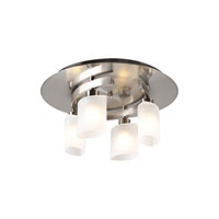 PLC Lighting Wyndham Flush Mount in Satin Nickel with Frost Glass 648-SN