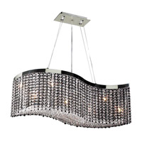 PLC Lighting Clavius 8 Light Chandelier in Polished Chrome and Black and Handcut Crystal 66020-BK/PC