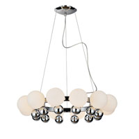 PLC Lighting Pluto Chandelier in Polished Chrome with Matte Opal Glass 67012-PC