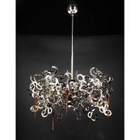 PLC Lighting Exos Chandelier in Polished Chrome with Amber Glass 70007-PC
