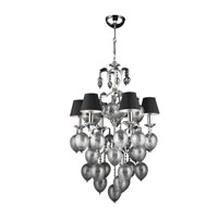 PLC Lighting Sofitel 6 Light Chandelier in Polished Chrome and Red Shade 70022-RED/PC