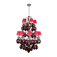 PLC Lighting Sofitel 15 Light Chandelier in Polished Chrome 70027-RED/PC