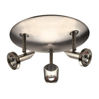 PLC Lighting Alfa 3 Light Flush Mount in Satin Nickel 7003-SN