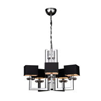 PLC Lighting Icon Chandelier in Polished Chrome with Black Fabric Shade & Clear Glass Accent Glass 70065-PC