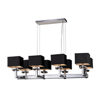 PLC Lighting Icon Chandelier in Polished Chrome with Black Fabric Shade & Clear Glass Accent Glass 70068-PC