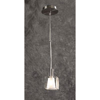 PLC Lighting Ice-I Mini Pendant in Satin Nickel with Icy Frost Glass 7201-SN