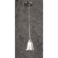 PLC Lighting Ice-II Mini Pendant in Satin Nickel with Icy Frost Glass 7202-SN