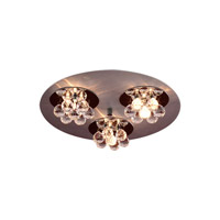 PLC Lighting Bolero Flush Mount in Aluminum & Polished Chrome with Clear Glass 72133-AL/PC