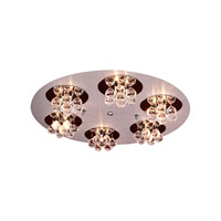 PLC Lighting Bolero Flush Mount in Aluminum & Polished Chrome with Clear Glass 72135-AL/PC