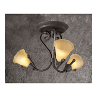 PLC Lighting Versailles Flush Mount in Oil Rubbed Bronze with Vanilla Amber Glass 72323-ORB